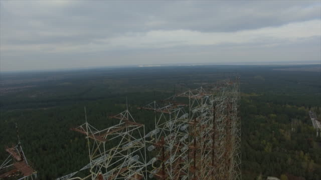 "Object ""Chernobyl-2"". Flight forward above the construction, camera down. Part 1of2"