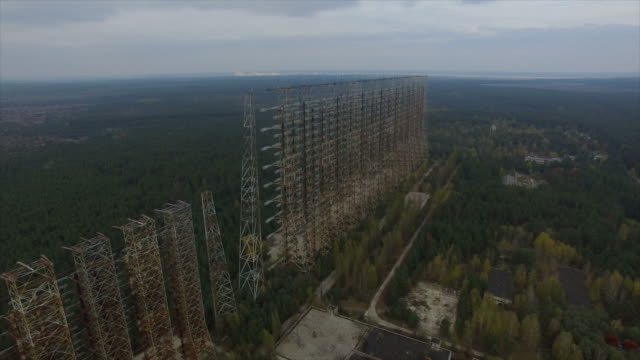 "object ""chernobyl-2"". flight leftside about the construction - 1986 stock videos and b-roll footage"