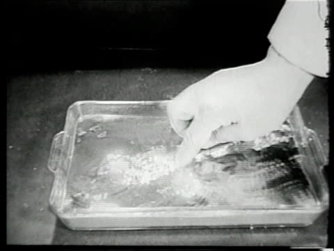 vídeos de stock, filmes e b-roll de montage objects floating in tray of mercury during laboratory demonstration of the density of this metal / united states - mercúrio metal