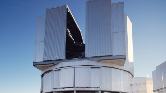 t/l, ms observation doors opening on one of the vlt telescopes at paranal observatory / chile - four objects stock videos & royalty-free footage