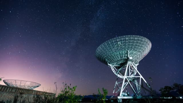 t/l observatory and radio telescope at night, beijing, china - astronomical telescope stock videos & royalty-free footage
