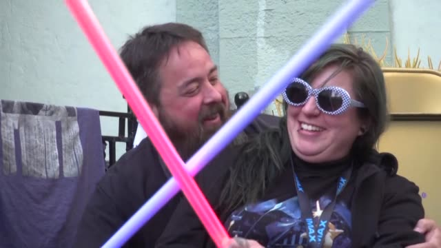 obsessed star wars fans have started camping outside hollywood's famous tcl chinese theatre more than a week before the blockbuster begins playing - tcl chinese theater stock-videos und b-roll-filmmaterial