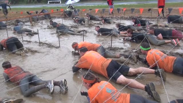 obstacle race all get into mud and work their way through the mazes - tough mudder stock videos and b-roll footage