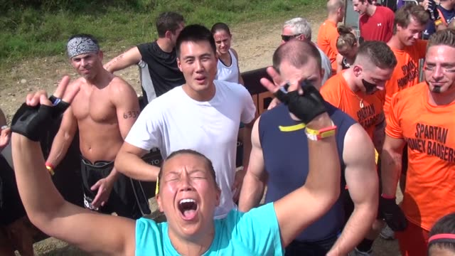 obstacle race spartan entrants pushed to limits prerace psych up yelling - salmini stock videos and b-roll footage