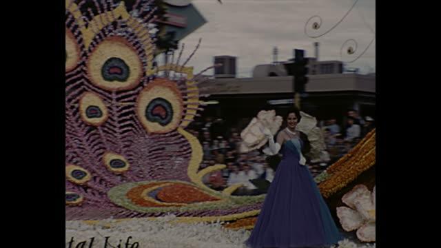 vídeos de stock, filmes e b-roll de occidental life insurance / la county shangri la / the salvation army parade floats - dia do ano novo