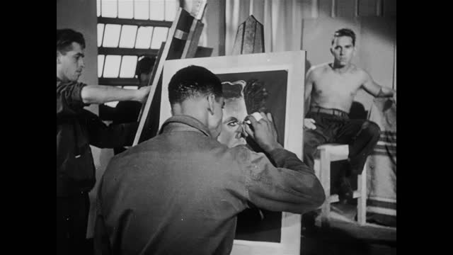 occupational therapy of us soldiers after ww2 - painting stock videos & royalty-free footage