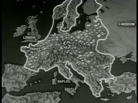 MAP Occupied Nazi German territory w/ highlighting industrial areas Long range bomber paths marked from London Italy