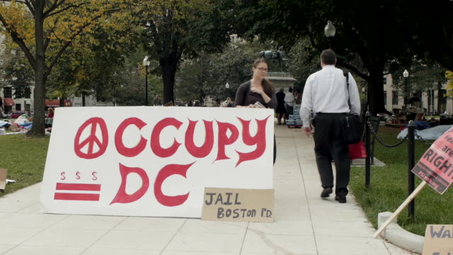 occupy dc protests at mcpherson square on october 11 2011 in washington dc - 緊急援助点の映像素材/bロール