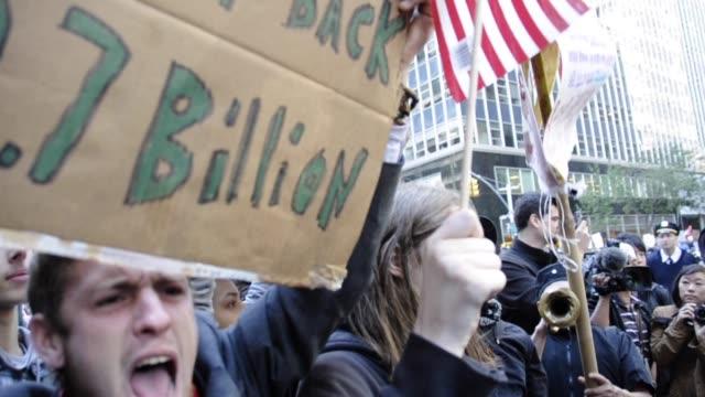 occupy wall street, manhattan, new york city, usa occupy wall street, manhattan, new york city, usa on october 15, 2011 in new york city, new york - occupy protests stock videos & royalty-free footage