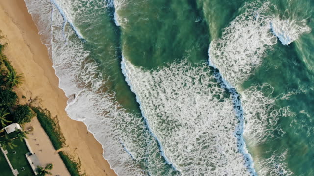 ocean above tropical beach aerial view - seascape stock videos & royalty-free footage
