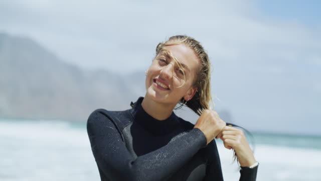 ocean air, salty hair - wet hair stock videos & royalty-free footage