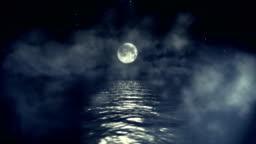 Ocean and Full Moon on a Starring Night in Seamless Loop