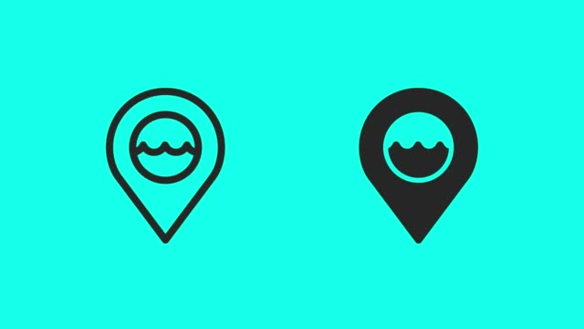 ocean area icons - vector animate - map pin icon stock videos and b-roll footage