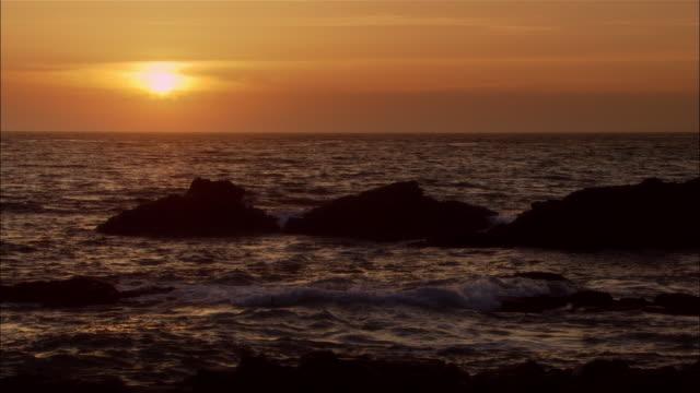 ms, ocean at sunset, moonstone beach, cambria, california, usa - norra stilla havet bildbanksvideor och videomaterial från bakom kulisserna
