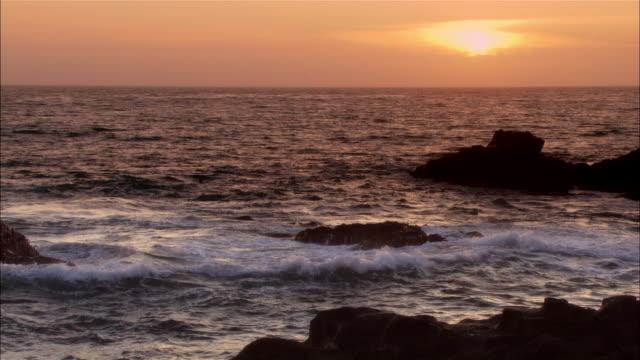 MS, Ocean at sunset, Moonstone Beach, Cambria, California, USA