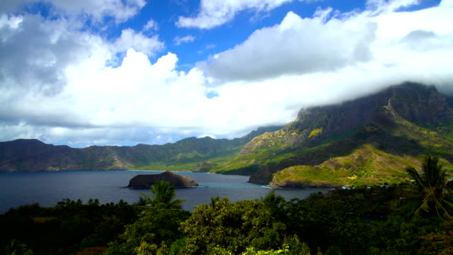 ocean bay lush vegetation atuona hiva oa marquesas - polynesian ethnicity stock videos and b-roll footage