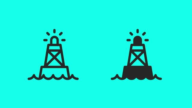 vídeos de stock, filmes e b-roll de ícones da bóia do oceano-vetor animate - boia equipamento marítimo de segurança