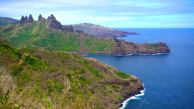 ocean coastline volcanic mountains anaho nuku hiva marquesas - polynesian ethnicity stock videos and b-roll footage