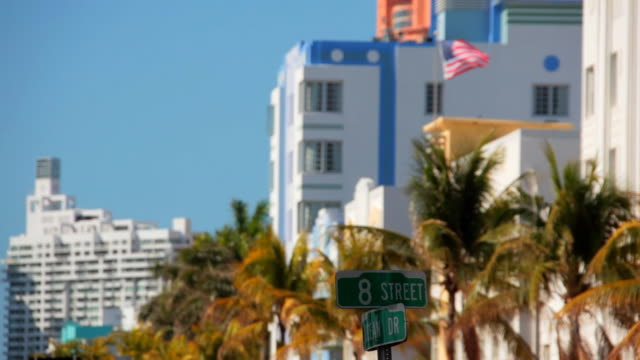 ocean drive and 8th st - south beach stock videos & royalty-free footage