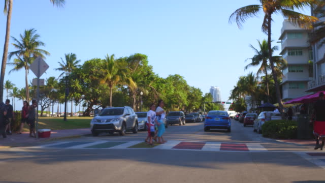 ocean drive is at the heart of the miami beach architectural district . the area is a u.s. historic district - オーシャンドライブ点の映像素材/bロール
