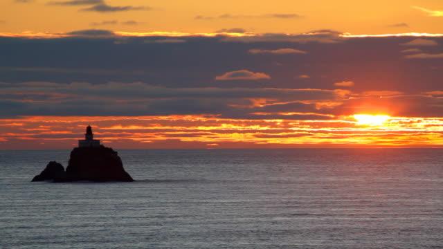 HD 海夕暮れ時の灯台