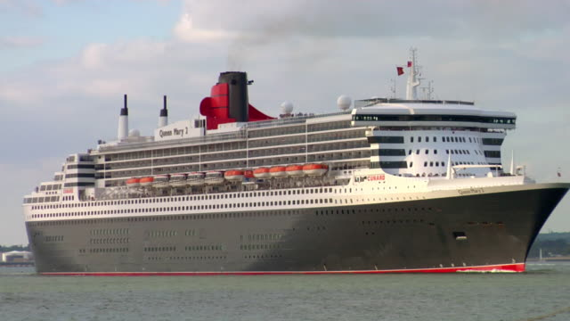 MS Ocean liner RMS Queen Mary 2 crossing harbor, Hampshire, United Kingdom