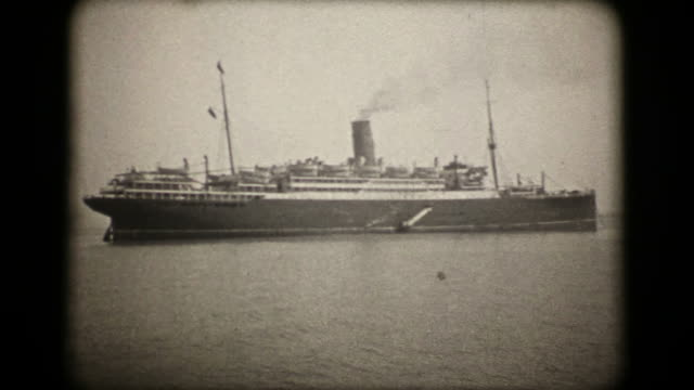 oceano liner rms scythia-anni'20 vintage 16 mm (hd 1080 - nave a vela video stock e b–roll