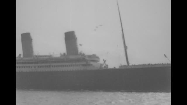 VS ocean liners at sea passing / VS ships and ocean liners sailing / Note exact year not known film has nitrate deterioration documentation incomplete