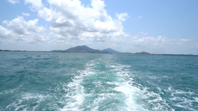 Ocean Sea With Fast Yacht Boat Wake Foam