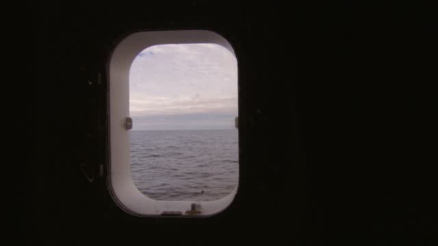 CU, Ocean seen through ship window, Antarctica