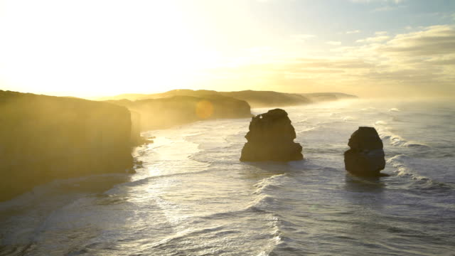 ocean timelapse at dawn twelve apostles coastline australia - great ocean road stock videos & royalty-free footage