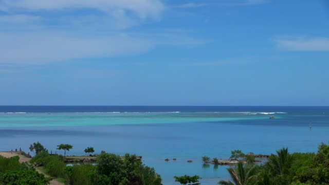 ocean view with tourists and plants - insel moorea stock-videos und b-roll-filmmaterial