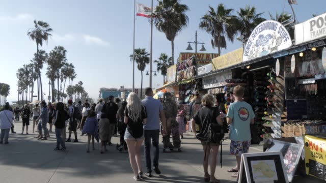 ocean walk at venice beach, santa monica, los angeles, california, united states of america, north america - santa monica california stock videos & royalty-free footage