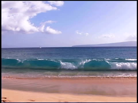 Ocean Waves Crash Onto Shore At Big Beach On Maui Hawaii Stock