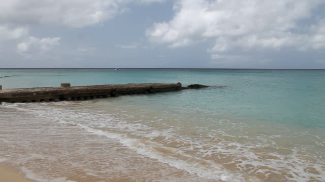 Ws Ocean Waves Rolling Onto Sandy Beach With An Old Pier Holetown St