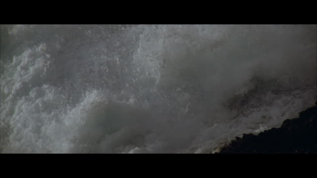 cu, slo mo ocean waves splashing on rocks - ominous stock videos & royalty-free footage