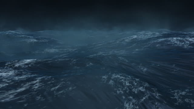 ocean white caps ripple in a dark misty night. - 起伏のある点の映像素材/bロール