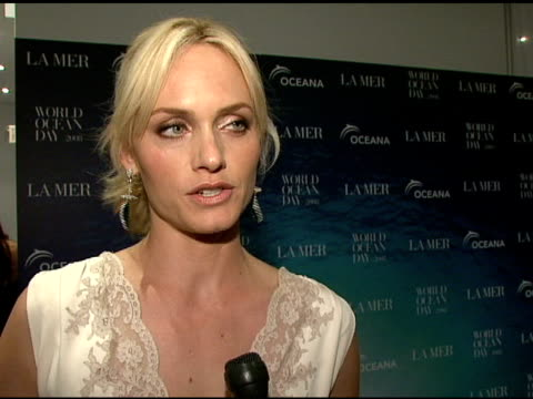 oceana spokesperson amber valletta talking about the importance of world ocean day how excited she is to try la mer and her summer beach plans at the... - amber valletta stock videos and b-roll footage