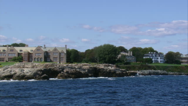 aerial oceanside mansions / newport, rhode island, united states - cliff stock videos & royalty-free footage