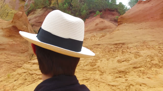 ocher landscape in roussillon - one teenage boy only stock videos & royalty-free footage