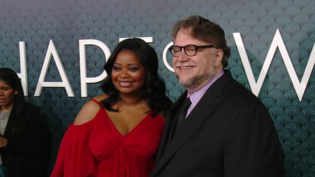octavia spencer and guillermo del toro at the shape of water los angeles premiere presented by fox searchlight pictures at the academy of motion... - academy of motion picture arts and sciences stock-videos und b-roll-filmmaterial