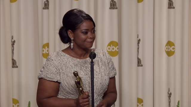 Octavia Spencer replies to a Univision journalist that she is going to go back there to celebrate at 84th Annual Academy Awards Press Room on 2/26/12...