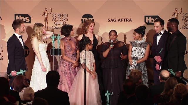 speech octavia spencer taraji p henson janelle monae kirsten dunst at 23rd annual screen actors guild awards press room in los angeles ca - taraji p. henson stock videos and b-roll footage