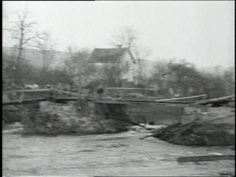October 10 1918 MONTAGE Destroyed bridge spanning river / Velosnes Lorraine France