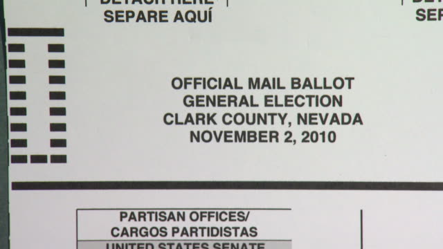 october 14, 2010 official mail ballot for the clark county, nevada general election displaying candidates for united states senate / nevada, united... - clark county nevada stock videos & royalty-free footage