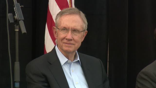 October 16 2010 MS Senator Harry Reid seated on stage at Latino rally / Las Vegas Nevada United States