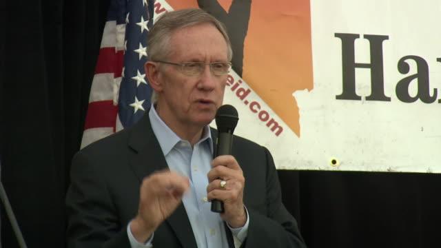 October 16 2010 LA US Senator Harry Reid delivering a speech on immigration during Latino rally / Las Vegas Nevada United States