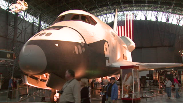 october 17 2008 zi space shuttle enterprise on display in hangar / washington dc united states - smithsonian institution stock videos & royalty-free footage