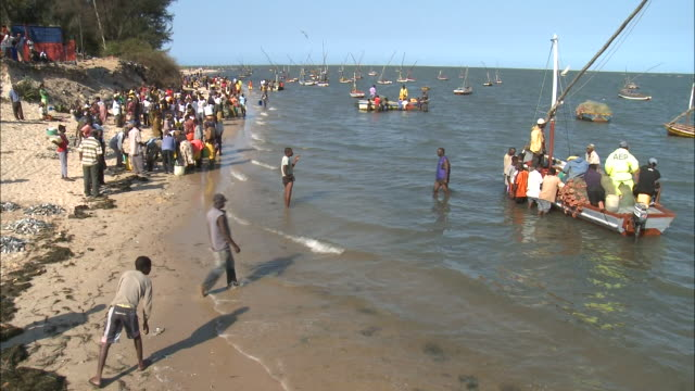 october 17, 2010 crowd gathered on beach, various boats anchored in the water, and freshly caught fish piled on sand / mozambique - anchored stock videos & royalty-free footage