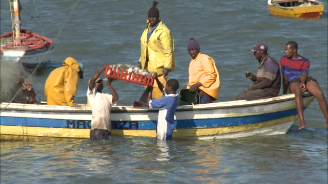 October 17 2010 TS Fisherman loading catch into tray from fishing boat and carrying it through the shallows on his head / Mozambique